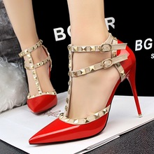 New Woemn Summer Shoes European Fashion Thin High Heels Shoes Hollow Pointed Sexy Stiletto HeelT strap