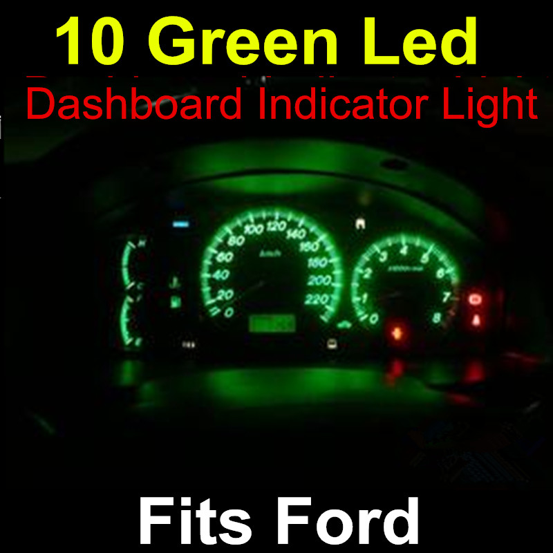 """For Ford 10x Green T5 LED 5050 SMD Dashboard Instrument Panel T5 Gauge Indicator Light Bulb with 3/8"""" Twist Socket(China (Mainland))"""