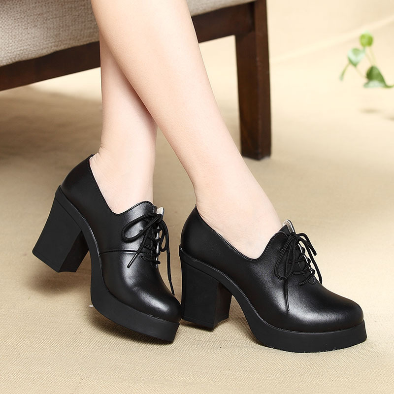 2015 new design genuine leather women's platform high heels,Fashion lace square heel black ladies pumps shoes,size 35-40 - Jingzhu Co.,Ltd. Store store