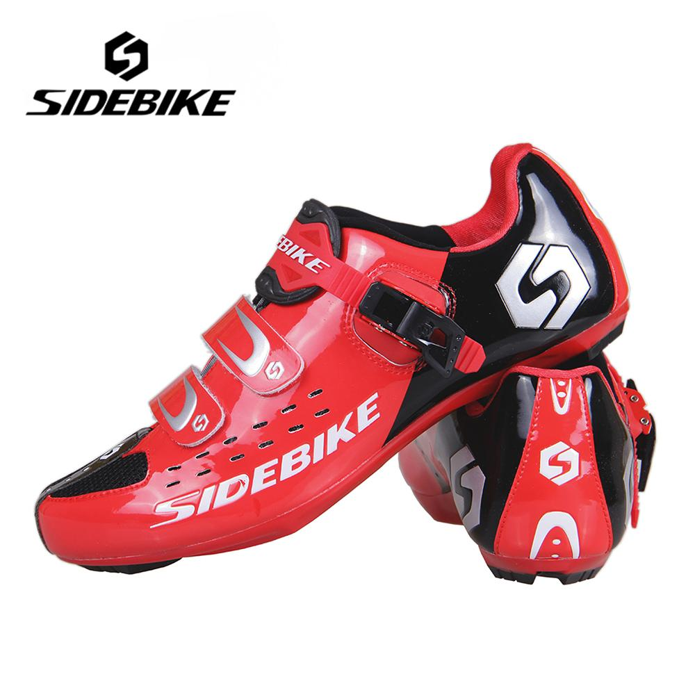 SIDEBIKE Men Women Bicycle Cycling Shoes Outdoor Sports Racing Athletic Shoes Breathable Road Bike Self-Locking Shoes, Red