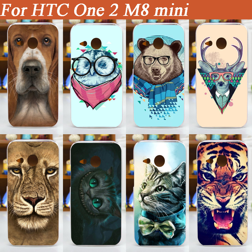 High Quality pattern painted colored animals design cover case For HTC One 2 M8 mini Case cover free shipping(China (Mainland))