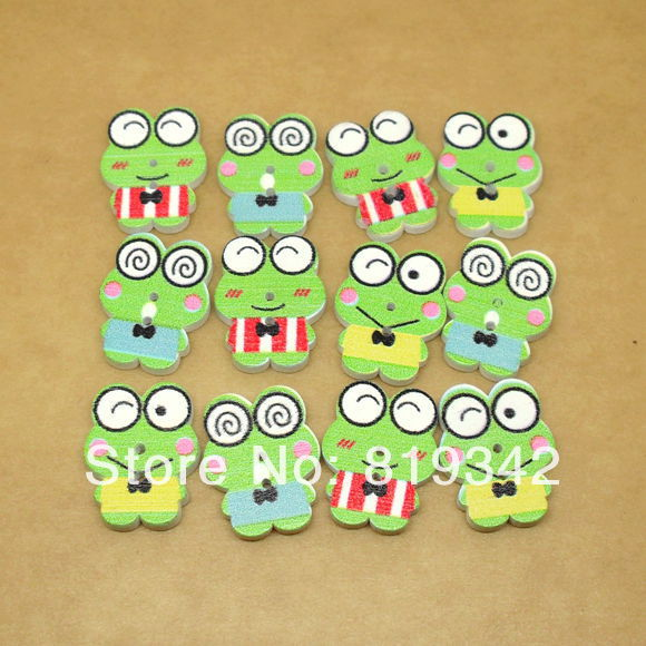 10 Random Mixed Lovely Green facial expression Frog 2 Holes Wood Sewing Buttons Scrapbooking 22x17mm - Alex's Beads store