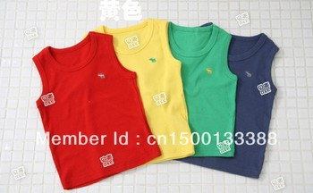 in stock 2013 children clothes sleeveless T-shirt vest boy's clothing girl's t shirt free shipping