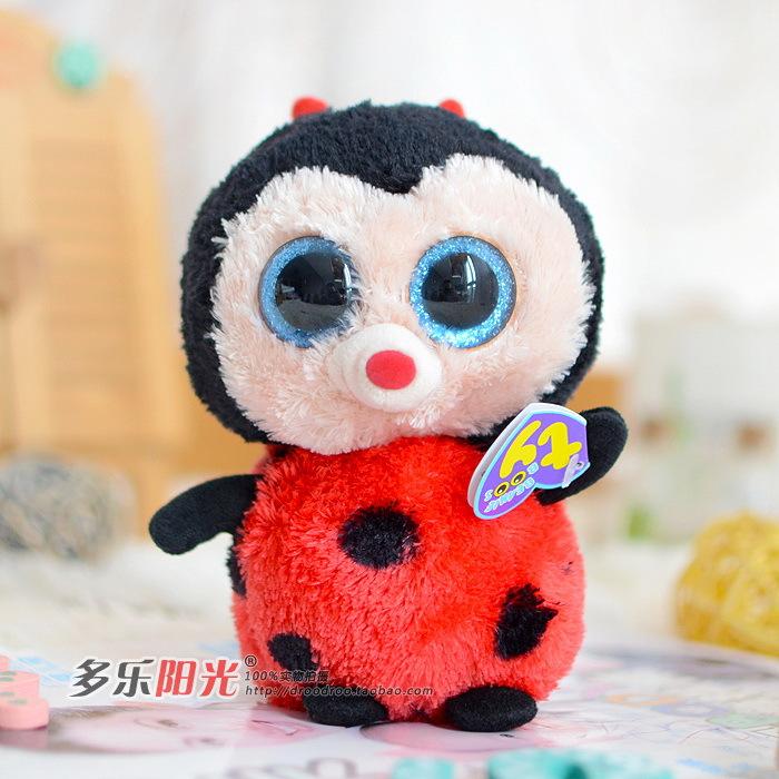 Ty big eyes colorful ladybug plush toy doll gift Lovely kids toys gifts Stuffed Animals cute Lady beetle plush toys(China (Mainland))