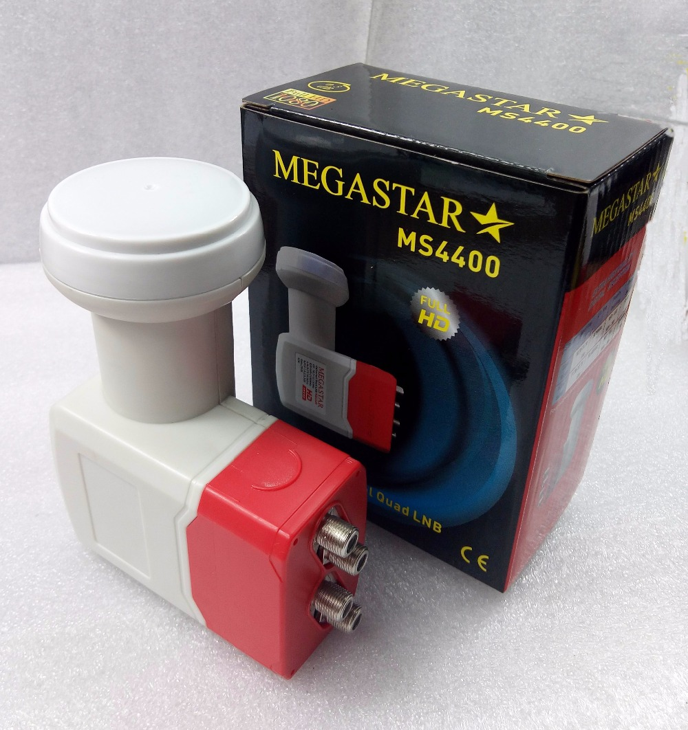 MEGASTAR MS4400 free shipping Best Signal Full HD Universal KU Band Quad LNB waterproof High Gain Low noise satellite LNB(China (Mainland))