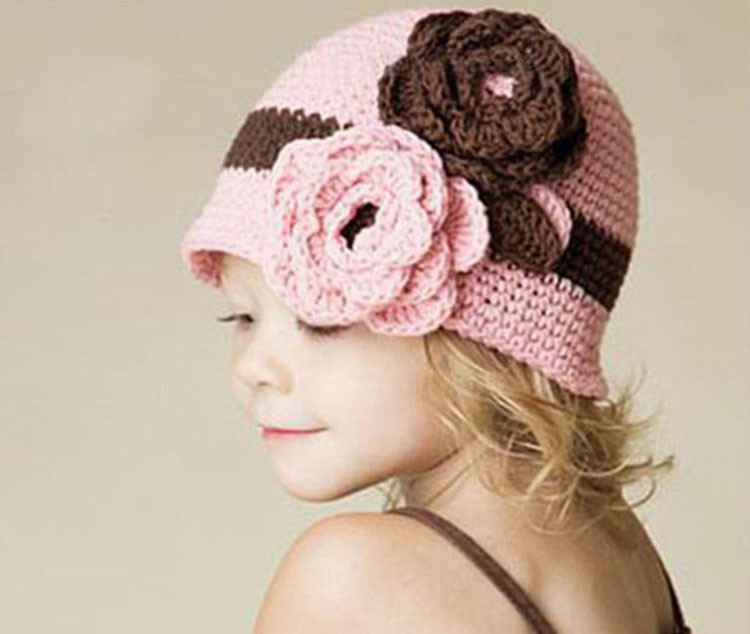 Baby Hat Limited 2015 New Arrival Baby Girls Floral Fitted Hats & Caps Hand-knit Crochet Beanie Photography Photo Props Flowers(China (Mainland))