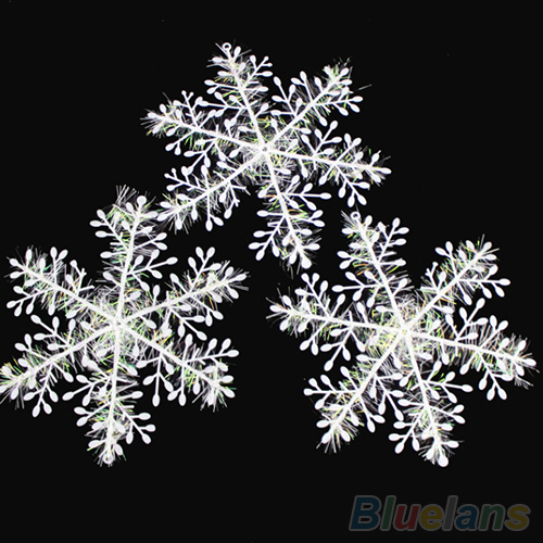 30Pcs White Snowflake Ornaments Christmas Holiday Festival Party Home Decor 2MSI