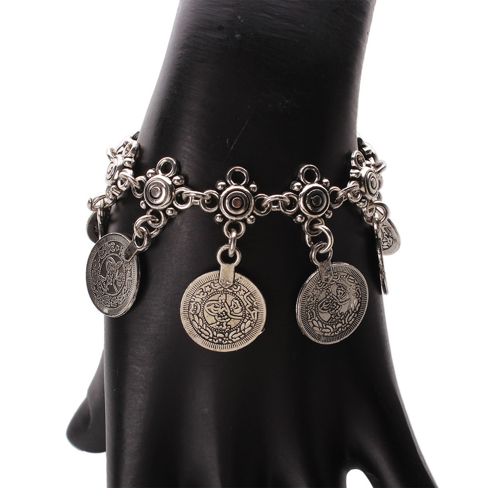 Boho Silver Coin Bracelet Adjustable Floral Gypsy Beachy Ethnic Tribal Festival Jewelry Turkish Bohemian(China (Mainland))