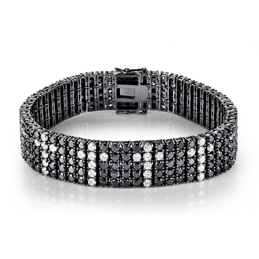 CQueen Jewelry Wedding Party Gift Bracelets Black Spinel White CZ Diamond 18K Gold Plated Fashion Bracelet for Women Wholesale