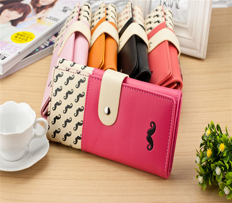 2015 Moustache Women PU Wallet Leather Purse Long Clutch Cute Button Bag Card Holder Handbag High Quality Candy Color Free N820<br><br>Aliexpress