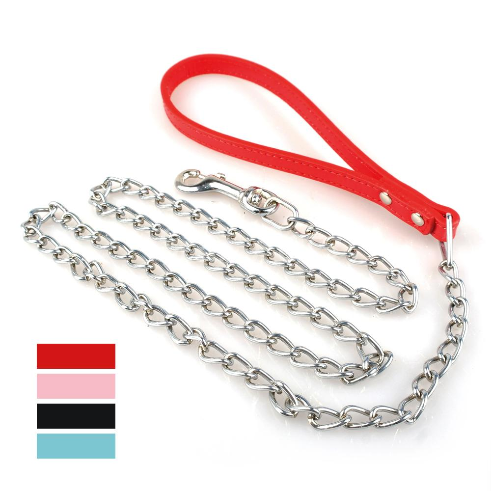 Pu Leather Handle 100cm Chain Dog Pet Leash Metal Chain Leads(China (Mainland))