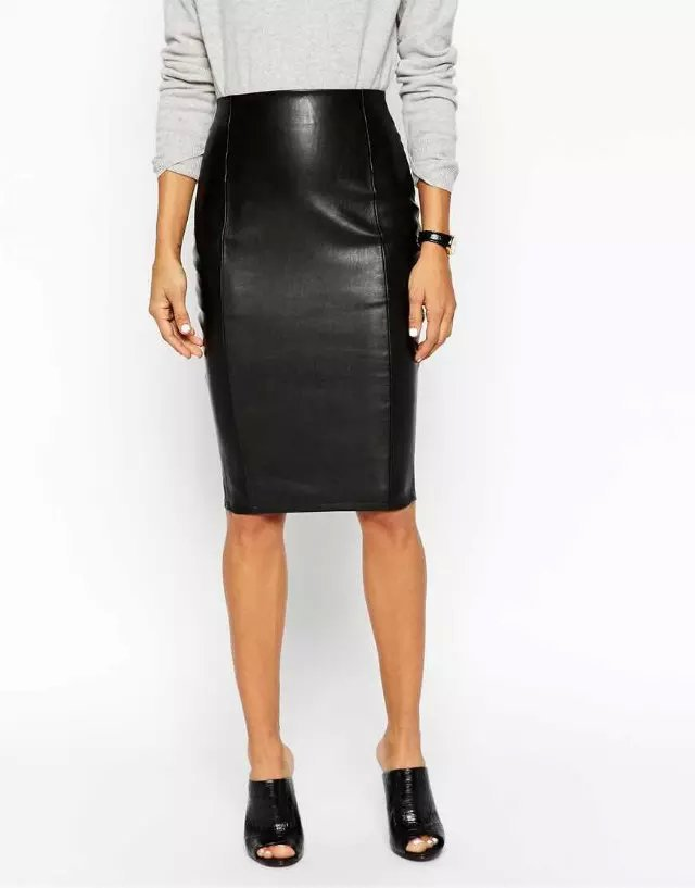 new style pu leather black pencil skirt