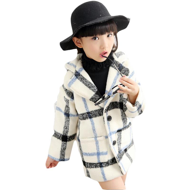 2015 Winter Childrens Outwear Girls Fleece Plaid Coat Jacket Kids Long Sleeve Overcoat Top Quality Beige/Red Ninos Escudo EC955<br><br>Aliexpress