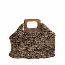 Simples saco de moda de rua Das Mulheres Saco Grande Capacidade de Bolsas Das Senhoras Da Praia do Verão Bolsa De Palha Artesanal Bohemian Rattan Sacola de Viagem(China)