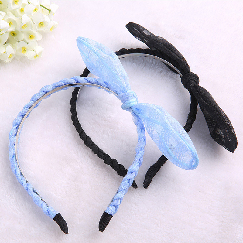 Solid Bownot Gauze Hair Bands High Quality Rubber Simple Style Popular Fashion Accessories for Women Long Hair High Quality(China (Mainland))