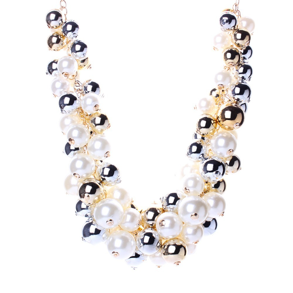 Women Imitation Pearl Jewelry Fashion Collar Chokers Gold Color Chain Beads Rhinestone Statement Necklace Maxi Bijoux N2563  -  Solememo Official Store store