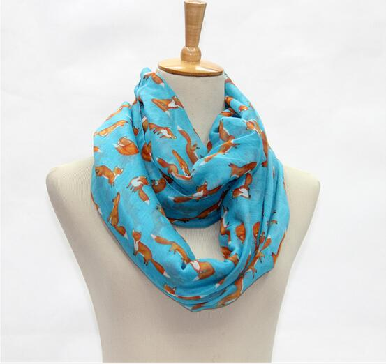 2016 Fox pattern infinity scarf,circle scarf,Loop scarf,Scarves,Long Shawls,Spring fall winter summer fashion gift