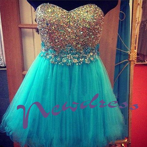 Blue sleeveless discount short prom dresses, cheap junior pretty ND121 - NewdressLisa store