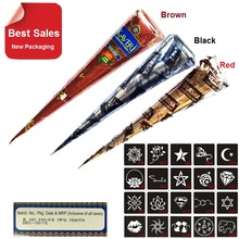3 Piece Henna Cones Red Brown Black + 15 Stencils 6 * 6cm Temporary Tattoo Kits Body Art Mehandi Ink For Body Paint(China (Mainland))