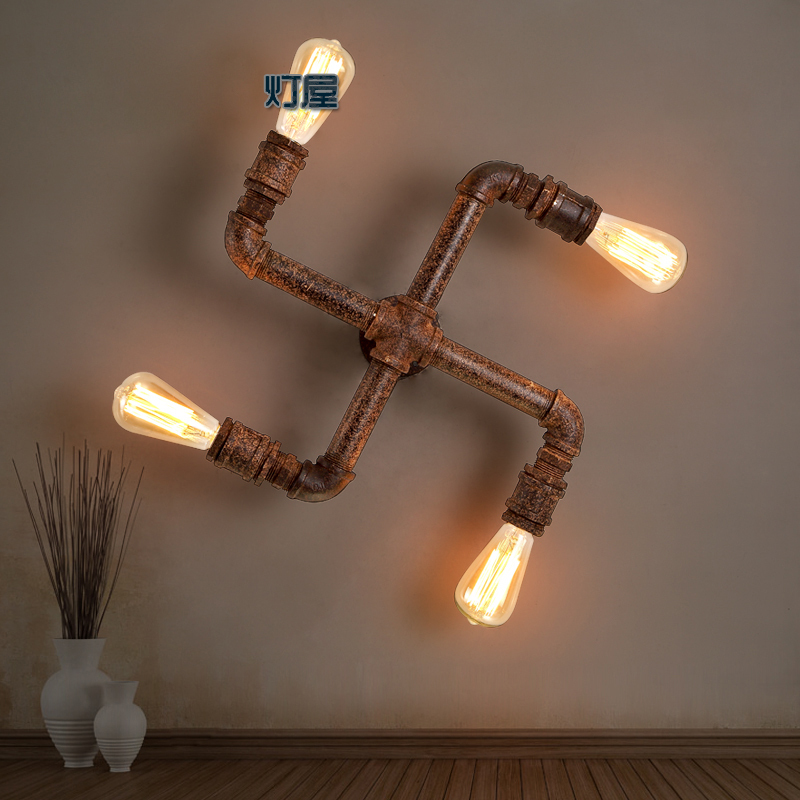 american loft vintage water pipe iron wall lamp e27 edsion bulb lamp nostalgic light inwall. Black Bedroom Furniture Sets. Home Design Ideas