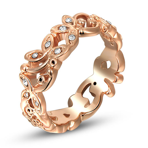 New Arrival Women's Crystal Jewelry 9K Rose Gold Plated Hollow Flower Band Bohemia Ring(China (Mainland))