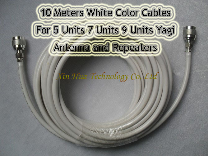 Wholesales 2pcs /1 lot 10 Meters White Cables For 5 Units 7 Units 9 Units Yagi Antenna & GSM 3G Repeaters Boosters Freeshipping(China (Mainland))