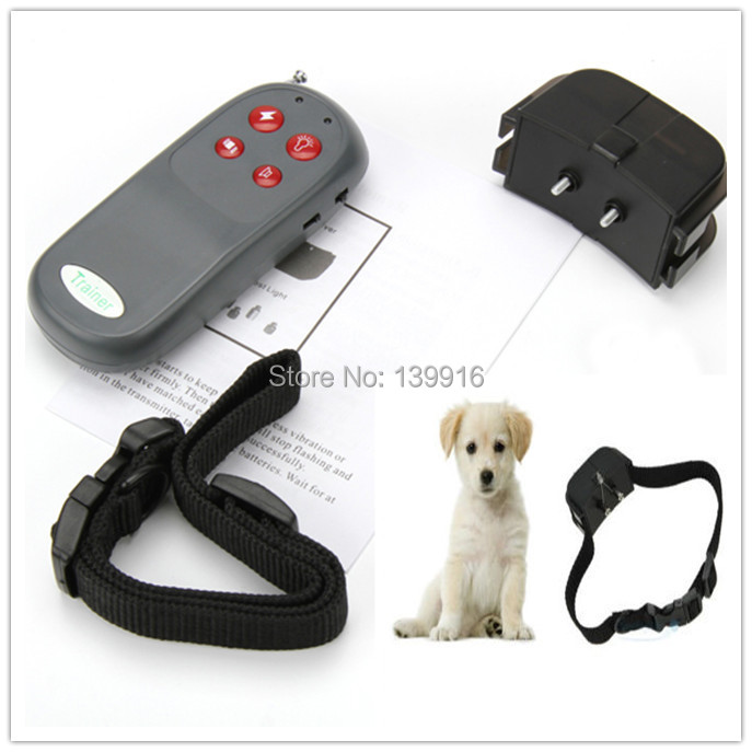 Useful Portable No Harm Electric 4 in 1 Remote Control Small Large Dog Training Shock Vibrate Collar Anti Bark Free Shipping(China (Mainland))