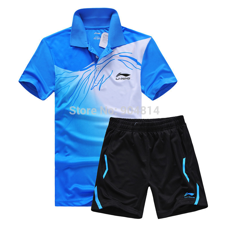 New Li Ning sports series wicking breathable clothing badminton men's t-shirt table tennis clothes suit shirt + shorts 5020AB(China (Mainland))