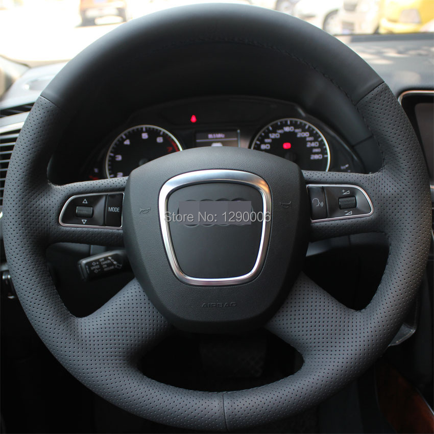 Black-Leather-Steering-Wheel-Cover-for-Audi-Old-A4-B7-B8