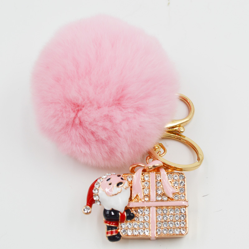 BF FUR 1PCS New Santa Claus Key Chain With Rex Rabbit Fluffy Fur Balls Keychains Jewelry Keyring For Women Christmas Gift KC-26(China (Mainland))