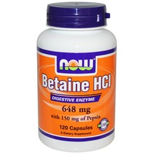 Betaine Hcl 648 mg with 150 mg of pepsin 120 capsules Free shipping(China (Mainland))