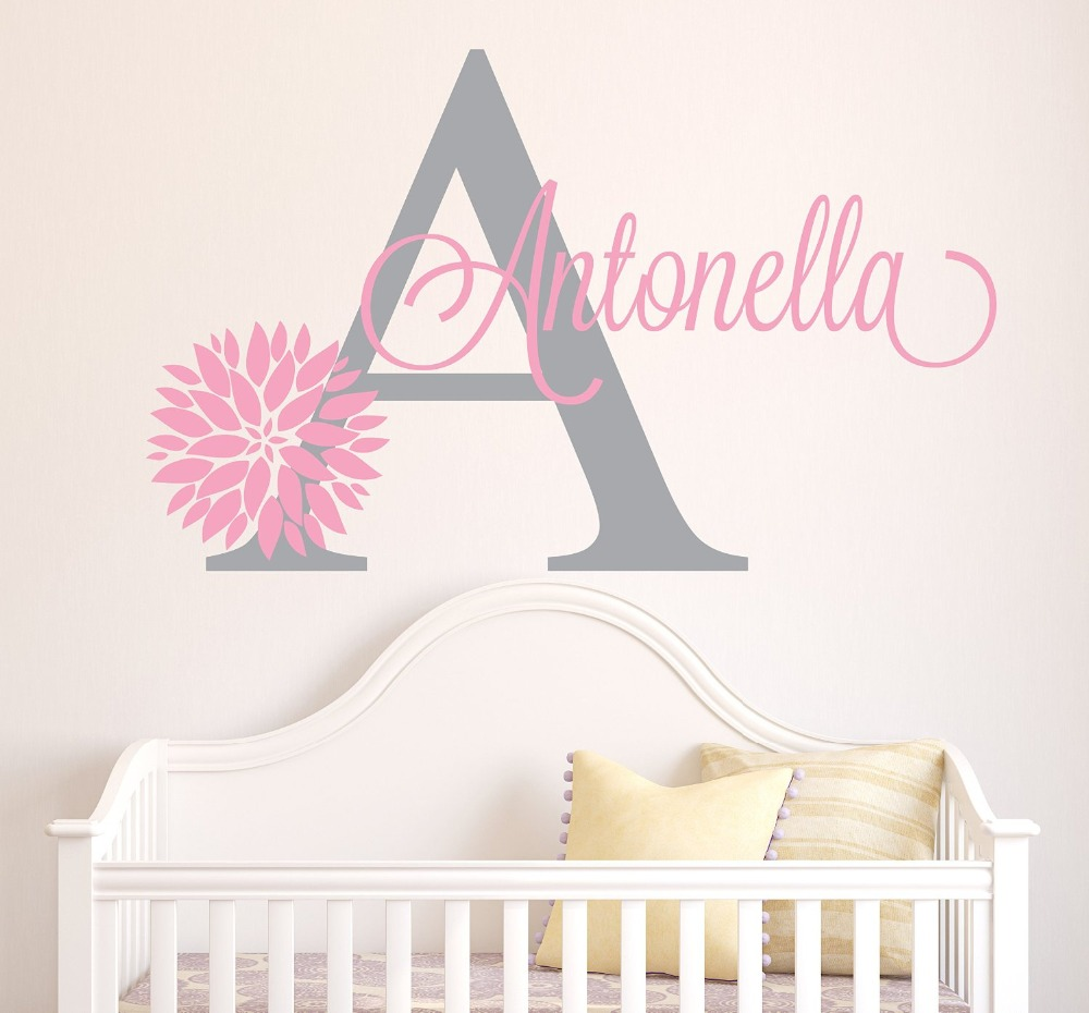 Personalized flowers name wall decal girls kids room decor for Girls murals