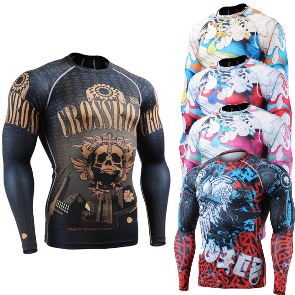 NEW Long Sleeve Skin Rash Guard Complete Graphic Compression Shirts Multi-use Fitness GYM MMA Running Sports Tops Shirts(China (Mainland))