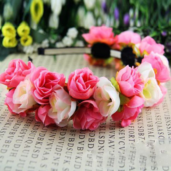 Newest Rose Flower Crown Headband Wedding Festival Double Row Floral Garland Hairband HQ34 SM79(China (Mainland))