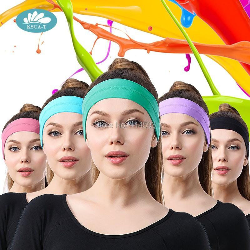 20 colors Elastic Headband Sports Yoga Accessory Dance Biker Wide Headband Stretch Ribbon Cotton Hairband(China (Mainland))