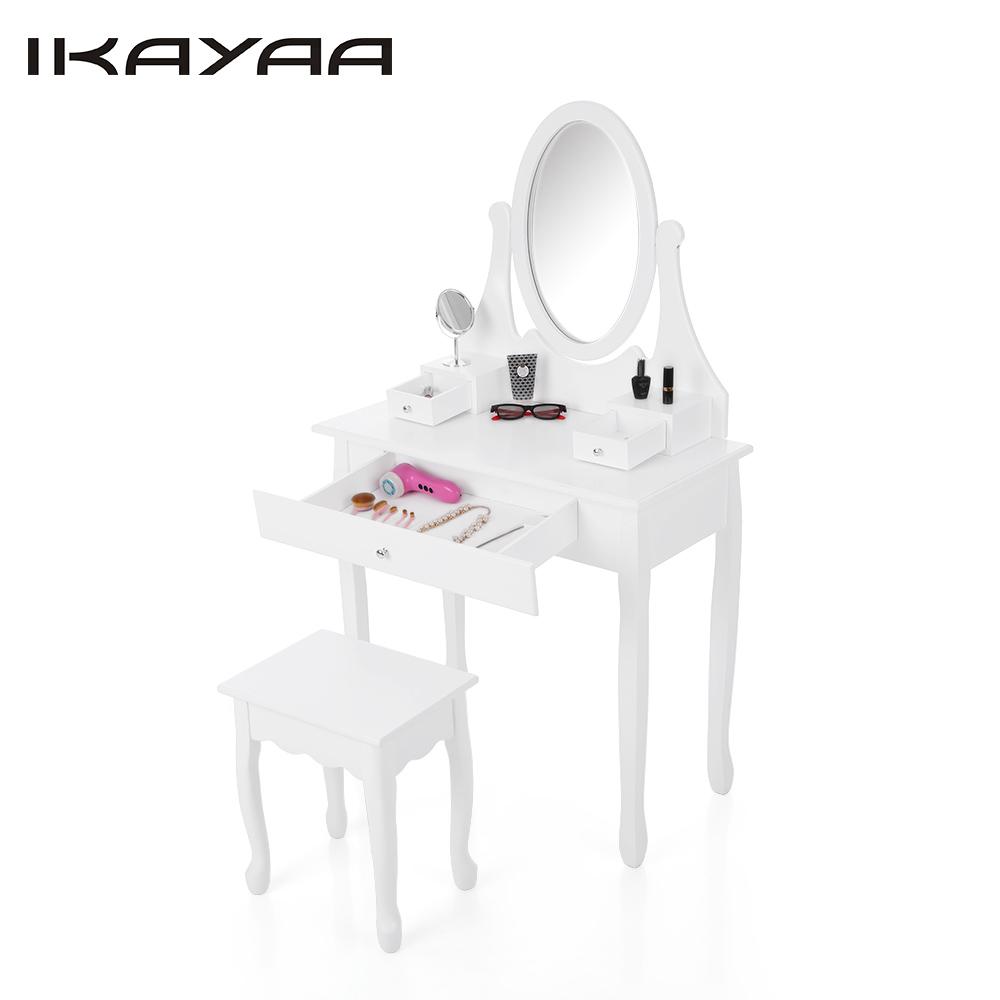 iKayaa US Stock Vintage Vanity Dressing Table Set Make Up Dressing Table Vanity Set W/ Oval Mirror Drawers Bedroom Furniture(China (Mainland))