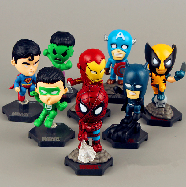 Marvel The Avengers Super heros 8PCS/Set Captain American Ironman Superman Hulk Spiderman Action figures Free shipping(China (Mainland))