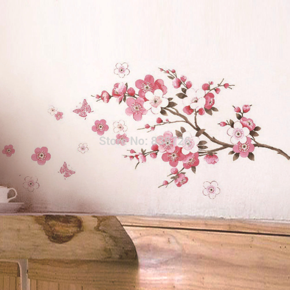 2016 Hot Home Decor Room Wall Stickers Pink Cherry Screen Posters Newly Bedroom Accessories Mural adesivo de parede para quarto(China (Mainland))