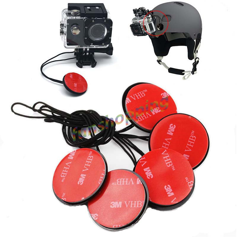 5pcs/lot Safety Insurance Tether Straps With Sticker Mounting Kit For GoPro Go Pro HD Hero 4 3+ 3 2 1 SJ4000 Xiaomi Yi Camera