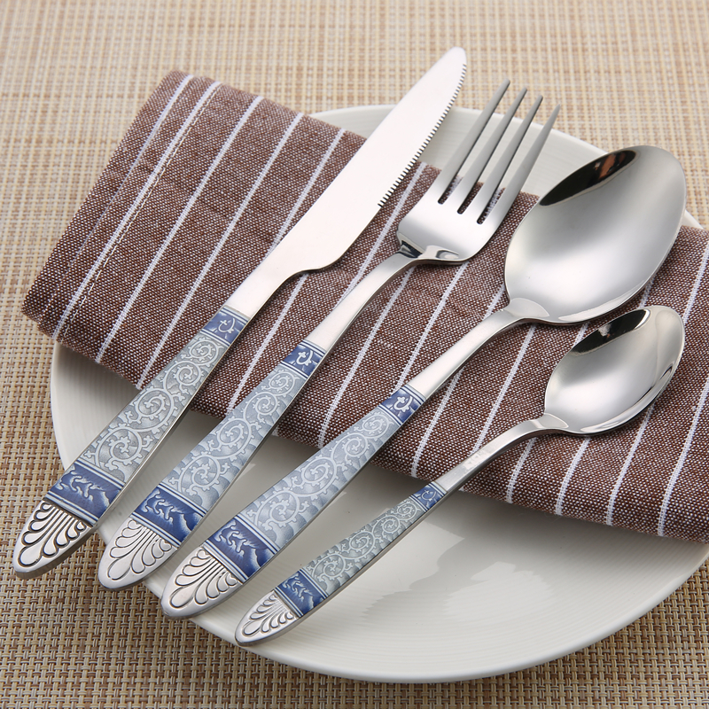24 Pcs Stainless Steel Flatware Sets China Style Dinner Tableware Silverware Cutlery Set Knife Fork Spoon for Dinner(China (Mainland))