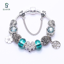 European silver tree Charm pandora Bracelet for Women biue Murano Glass Beads DIY Bracelets Fashion fashion Style Jewelry(China (Mainland))