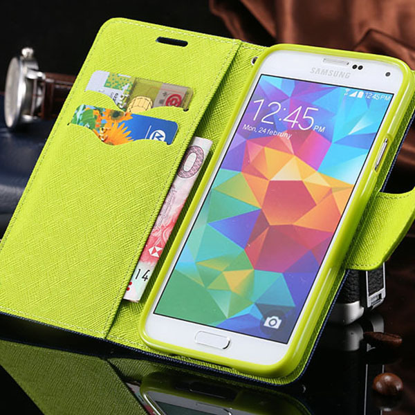 Mercury Case for Samsung Galaxy S5 i9600 Leather Cover with  Credit Card Slot  & Holder RCD03858  _15% OFF for 2PCS!