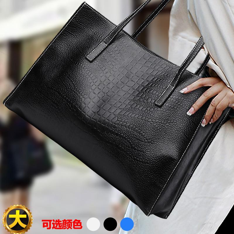 Fashion shopping bag 2015 cowhide large bag for Crocodile women's cowhide handbag women's bag shoulder bag