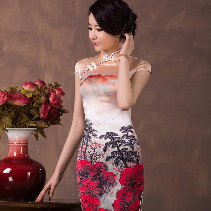 Top Grade Double Layer Mulberry Silk Cheongsam Dress Printed Fashion Summer Vintage One-piece Dress 19mm Crepe Satin Silk Dress