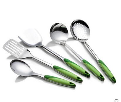 5PCS/Set Stainless steel kitchen supplies shovel kitchenware cookware cooking Rice/Soup Spoon/Colander/Drain shovel/Spatula(China (Mainland))