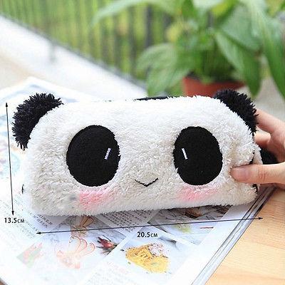 Hot Cute Soft Plush Cosmetic Makeup Cartoon Panda Storage Bag Pen Pencil Pouch Case(China (Mainland))