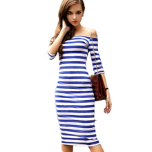 Buy 2017 Summer Women's Fashion Bodycon Long Party Dresses Sexy Shoulder Casual Striped Work OL Ladies Dress Blue vestidos for $6.61 in AliExpress store