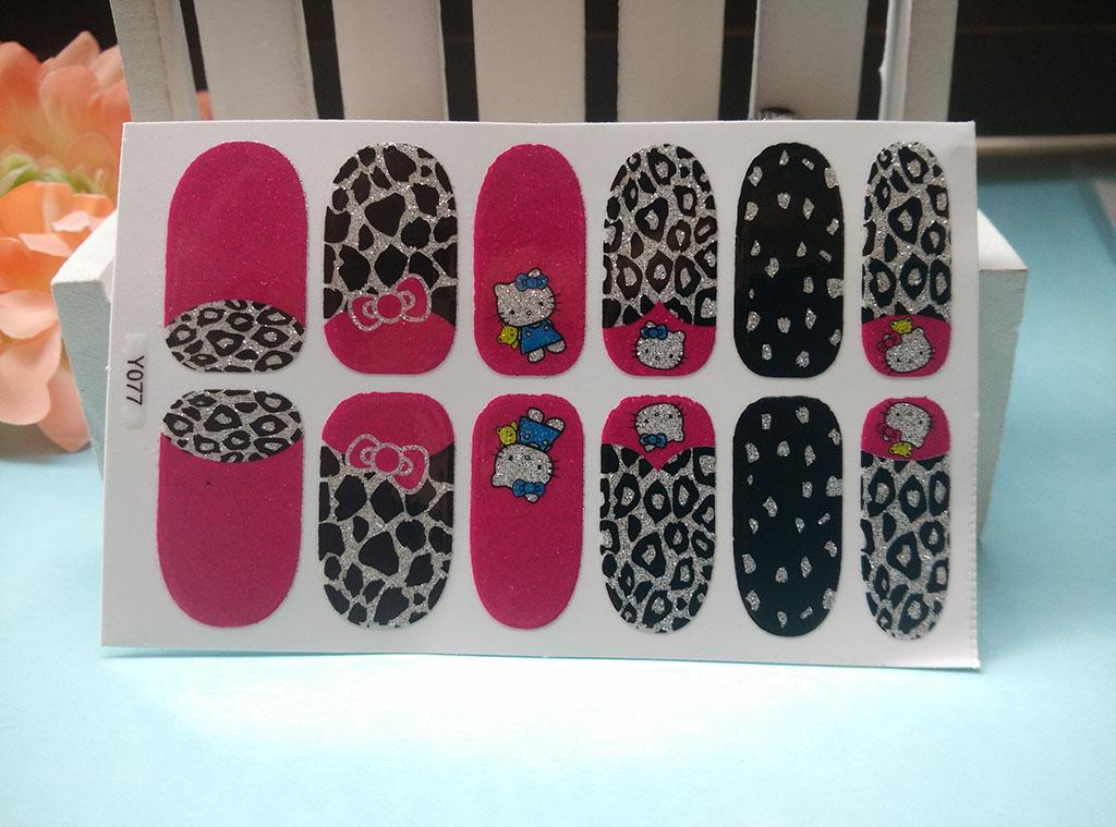 Y5077 Pink Glitter Manicure Kawaii Hello Kitty Leopard Acrylic Sticker Adhesive Nail Art Stickers Cartoon Nail Foil Decals(China (Mainland))