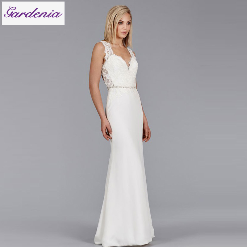 2015 Sexy Beach Wedding Dress Backless Sheath Lace Top