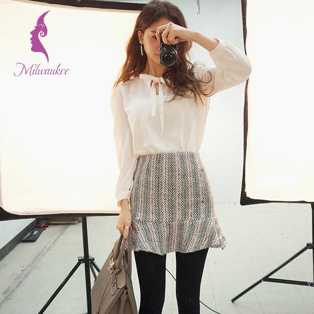 Милуоки корейских женщин юбка устанавливает сплошной белый дна с длинным рукавом ...